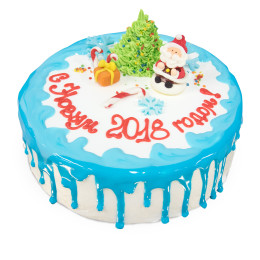 Cake for the New year covered with icing and decorated with a Christmas tree