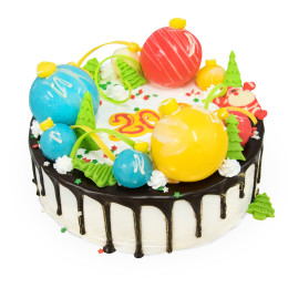 Cake for the New year with colorful balls