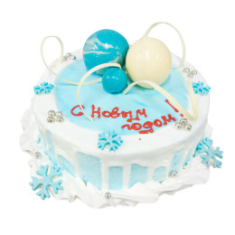 New year cake with white and blue balls