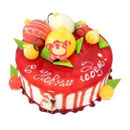 Cake for the New year covered with red icing, decorated with small and large Christmas balls