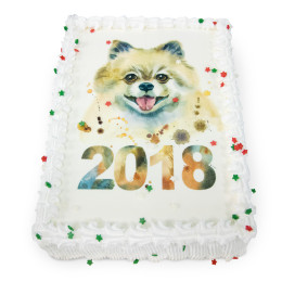 Cake for the New year with a photo print of the symbol of the year