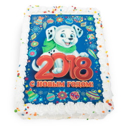 Cake for the new year rectangular with photo printing of the symbol of the year