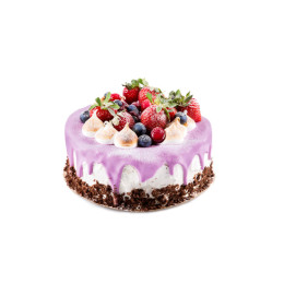 与新鲜草莓和蓝莓结冰的节日蛋糕