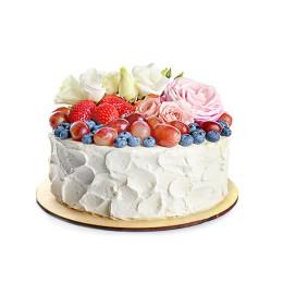 Торт праздничный в один ярус со свежими ягодами и цветами из мастики