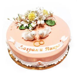 The wedding cake with doves